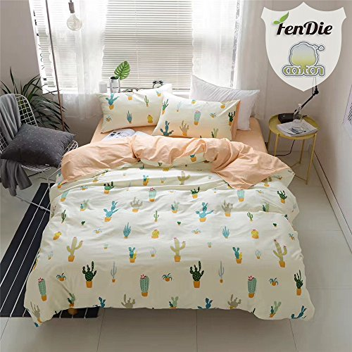 FenDie Potted Plants Bedding Queen Set 3 Piece Cactus Printed Duvet Cover Set Cotton,Pale Yellow for Teens - Pale Teen