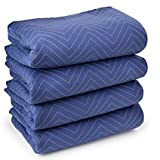 4 Moving & Packing Blankets 80'' x 72'' (55 lb/dz Weight) - Professional Quilted Shipping Furniture Pads (Royal Blue)