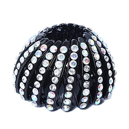 DARLING HER Hairpin Women Hair Accessories Bud Hair Clip Nest Shape Hair Ties Ponytail Holder Hair Claws Crystal Headear ()