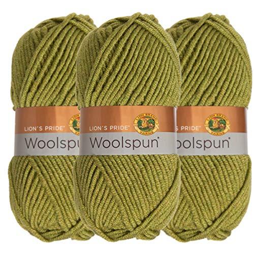 Wool Yarn Avocado - Lion Brand (3 Pack) Woolspun Acrylic & Wool Soft Avocado Green Yarn for Knitting Crocheting Bulky #5
