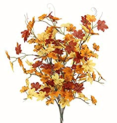 Admired By Nature GPB7445-Brw/GD/YW 6 Stems Artificial Maple Leaves Bush for Gift