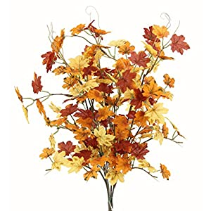 Admired By Nature GPB7445-Brw/GD/YW 6 Stems Artificial Maple Leaves Bush for Gift 32