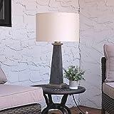 Sunnydaze Indoor/Outdoor Modern Concrete Pillar Table Lamp, 27 Inch