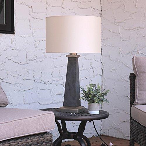 Cheap  Sunnydaze Indoor/Outdoor Concrete Pillar Table Lamp, Modern Design