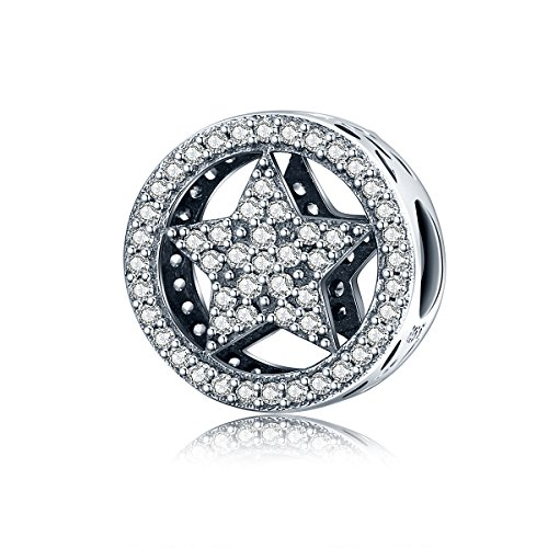(BAMOER 925 Sterling Silver Various Dazzling CZ Bead Charm for Women Snake Bracelet Charm (Brightest Star))