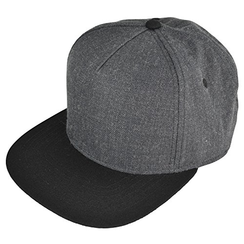 (DALIX Premium 5 Panel Wool Blend Hat Flat Bill Cap Snapback (Dark Gray/Black))