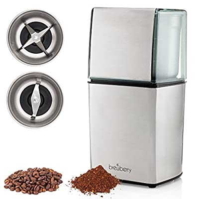 Brewberry Elite Series Electric Coffee Grinder, Espresso and Coffee Mill, Grinds Seeds, Spices, Coffee Beans, Nuts, Herbs and Beans, 2 High Precision Blades and 2 Removable Stainless Steel Cups from Brewberry