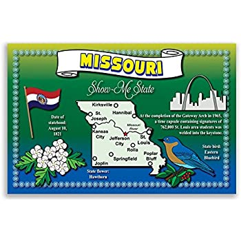 Made in USA. MISSOURI STATE MAP postcard set of 20 identical postcards Post cards with MO map and state symbols