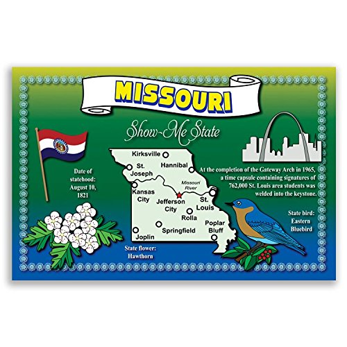 Missouri Postcard - MISSOURI STATE MAP postcard set of 20 identical postcards. Post cards with MO map and state symbols. Made in USA.