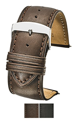 Genuine Leather Watch Band (fits Wrist Sizes 6-7 1/2 inch)- Brown - 30mm by STUNNING SELECTION