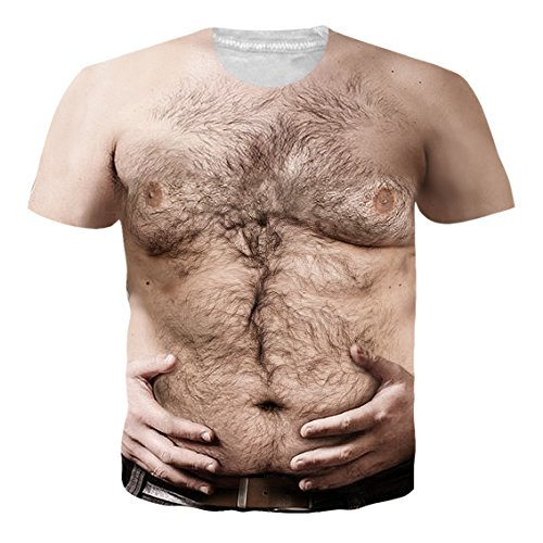 RAISEVERN Hairy Chest Stylish Short Sleeve 3D Allover Printing Cool Party Costume Clothes T Shirt Tees,2018 Style Hairy Chest,X-Large