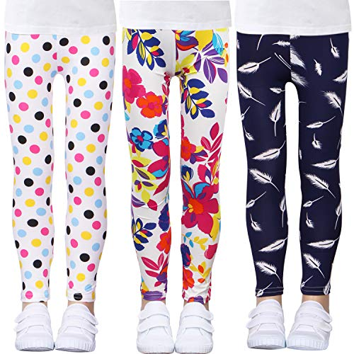 LUOUSE Girls Stretch Leggings Tights Kids Pants Plain Full Length Children Trousers, Age 4-13 Years -
