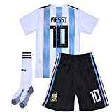 Goldenhetai 2018 World Cup Soccer Team Argentina Messi 10 Kids/Youth Home Jersey Color White/Blue