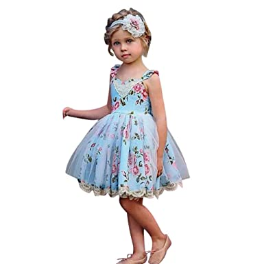 UK New Summer Kids Baby Girls Pageant Princess Sleeveless Floral Dress Clothes