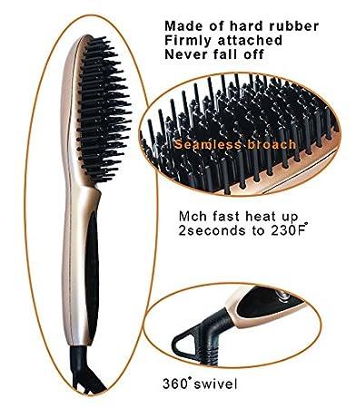 mokde mondge detalles LCD pelo cabello cepillo Peine Plancha Eléctrico Alisador antiencrespamiento cerámica calor: Amazon.es: Belleza