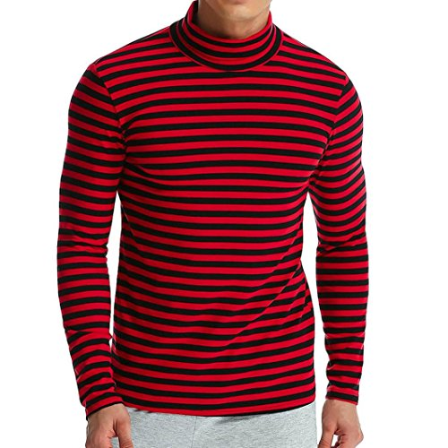 iLXHD Men's Autumn Winter Striped Turtleneck Long Sleeve T-Shirt Top Blouse(Red,3XL)