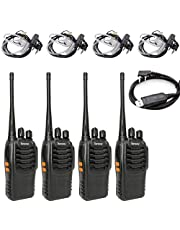 Tenway Walkie Talkie 4 Pack Rechargeable Long Range 16 CH Two Way Radio and Covert Air Acoustic Tube Earpiece and USB Programming Cable
