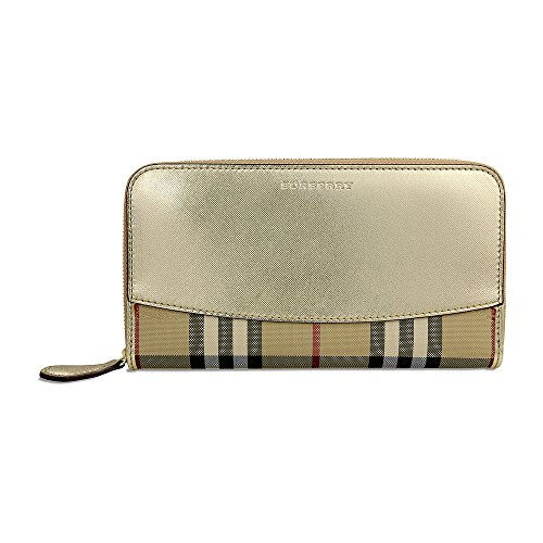 Burberry-Horseferry-Check-Leather-Ziparound-Wallet-Gold