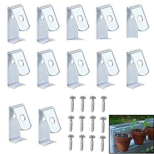 """Sumnacon Flower Pot Clips, Hard Steel Durable Plant Pot Latch Hangers Hook, Holds 5"""" to 8"""" Clay PotS, Terra Cotta Pots with A Lip Around The Edge (12) (12, (Rhizome Clip)"""