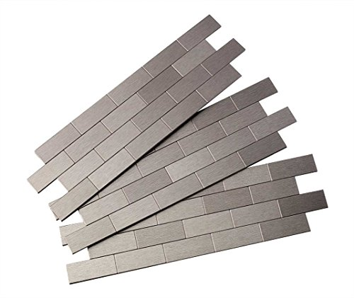- Aspect Peel and Stick Backsplash 12.5in x 4in Subway Stainless Matted Metal Tile for Kitchen and Bathrooms (3-pack)