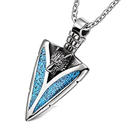 Arrowhead Howling Wolf Courage Power Protection Amulet Charm Simulated Turquoise Pendant 18 Inch Necklace