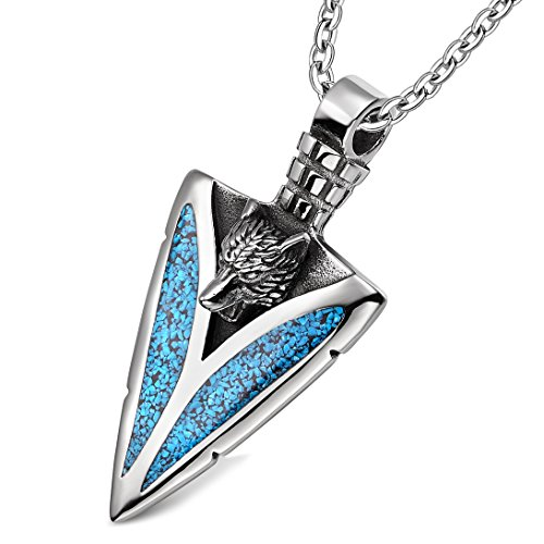 Arrowhead Howling Wolf Courage Power Protection Amulet Charm Simulated Turquoise Pendant 18 Inch Necklace -