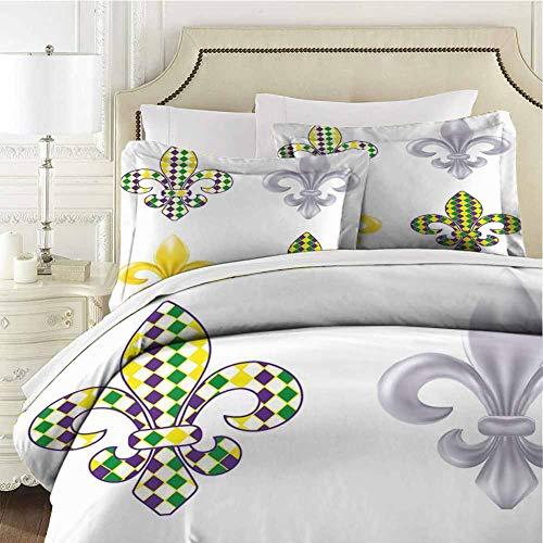 Mardi Gras Bedding 3-Piece King Bed Sheets Set,Comforter Set Bed Microfiber Duvet Cover Set Fleur De Lis Motifs with Soft Comfy Breathable Fade