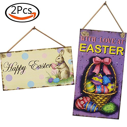 SHAN RUI 2pcs Wooden Easter Plaque - Easter Bunny Door Decor and Happy Easter Sign, Easter Greetings Hanging Wall Decoration Signs Easter Gifts and Party Favor -