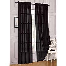 "Elegant Comfort 2-Piece Sheer Panel with 2"" Rod Pocket, Window Curtains 60"" Width X 84"" Length, Black"