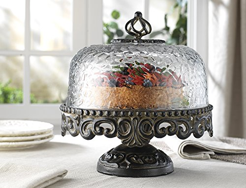 (Glass Cake Dome with Cast Aluminum Base)