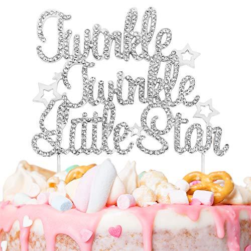 Twinkle Twinkle Little Star Silver Rhinestone Cake Topper Baby Shower Baby Birthday 1st Party - Stars Rhinestones Twin