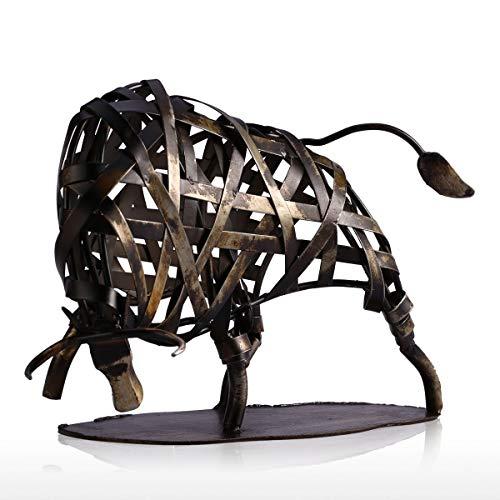 (Tooarts Metal Modern Sculpture Iron Braided Cattle Home Handmade Statue)