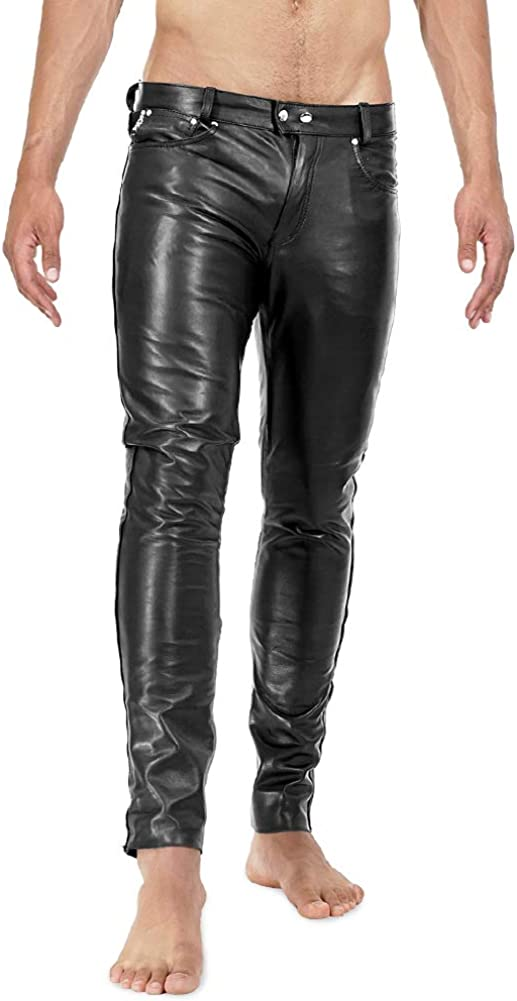 Bockle® 1991 Röhre Pantalones de Cuero Hombre varon Vaqueros Tube Skinny Slim Fit Ajustados