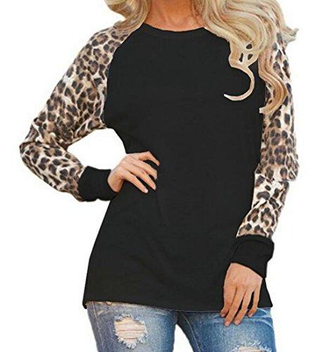 rd Print Stylish Long Sleeve Blouse Top T-Shirt Black XXS (Leopard Print High Top)