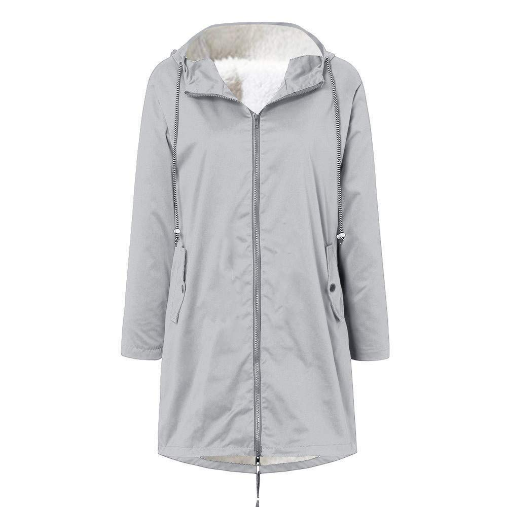 TIFENNY Women's Going Out Coat Solid Winter Warm Thick Plush Outdoor Outwear Jackets Plus Size Hooded Raincoat Windproof by TIFENNY_Shirts