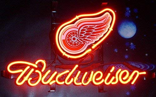 "Desung 14""x10"" Budweisers Detroit Sports Team Red Wing Neon Sign (VariousSizes) Beer Bar Pub Man Cave Glass Light Lamp BW13"