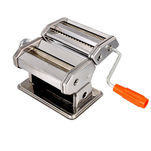 Homdox Pasta Maker, Stainless steel Pasta Machine, Removable Crank Handle - 3 Blades