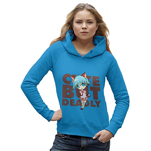 Twisted Envy Women's Cute But Deadly Organic Cotton Azure Blue Hoodie Small