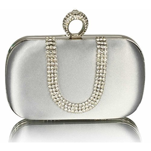 Womens Clutch Bag Ladies Satin Hard Case Clutch Box Designer Purse Evening (Silver Ruched Large Purse)