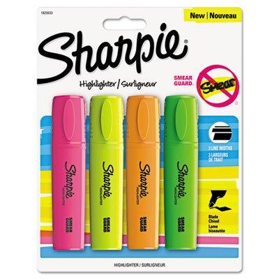 Sharpie 1825633 Blade Tip Highlighter Assorted 4/Pack ()