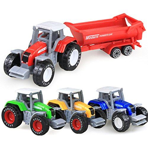 (Coolplay 1:64 Die Cast Slide Farm Tractor Cars Toys Play Vehicle Set)