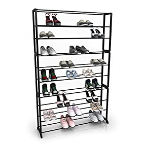 Homdox 10 Tiers Shoe Rack Portable Shoe Tower Storage Organizer Shoes Shelf,Black