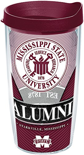 Tervis 1222760 Mississippi State Bulldogs Alumni Tumbler with Wrap and Maroon Lid, 16 oz - Tritan, Clear ()