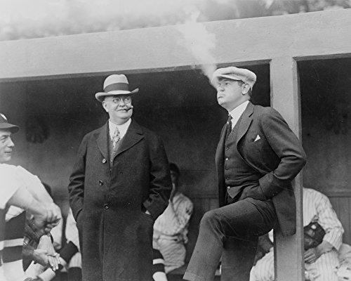Babe Ruth and Ban Johnson Smoking Cigars in Dugout Photograph (12x18 SIGNED Print Master Art Print w/ Certificate of Authenticity - Wall Decor Travel - Ban Master