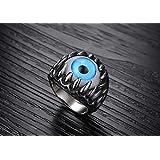 Titanium Steel Individual Overstate Blue Eyeball Style Fashion Ring for Men US9 mr3-1