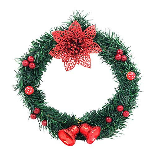 Fine Christmas Wreath,Mini Artificial Wreath Branches Flowers Wreath Christmas Garland Pendant Decoration Wedding Party DIY Home Decoration (Red) (Best Diy Christmas Wreaths)