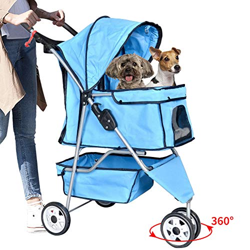 Bigacc Pet Stroller Dog Stroller Cat Stroller 3 Wheels Pet Stroller Pet Jogging Stroller Pet Jogger Stroller Dog/Cat Cage Travel Lite Foldable Carrier Strolling Cart