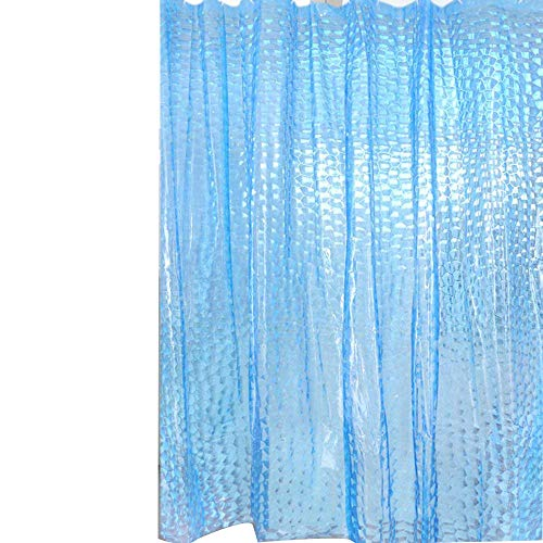 BestWare Waterproof Bath Curtain Shower Curtain 3D Peva Bath Curtain Clear Waterproof Bath Curtain Waterproof Shower Curtain Blue 180cm (Light Blue Shower Curtain Liner)