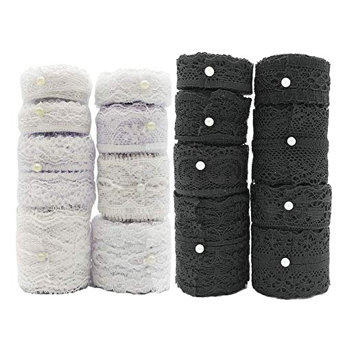 (Black White Lace Trim 16 Rolls 52.8 Yard, Assorted Vintage Patterns Cream Lace Ribbon Used for DIY Crafts Decorations and Sewing Meganeopre)