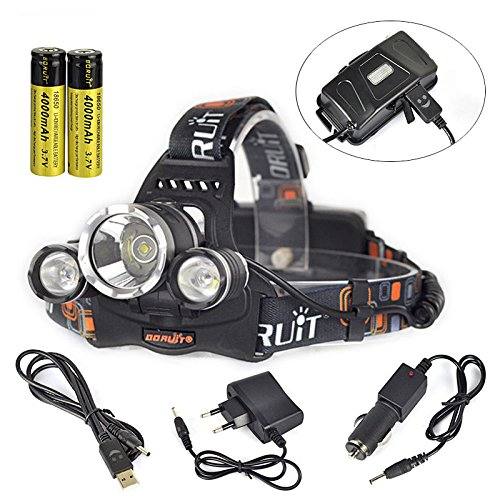 9000Lm 3x XM-L2 LED Rechargeable Headlamp HeadLight Torch USB Lamp+18650+Charger